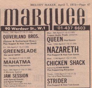 Queen en el Marquee Club.